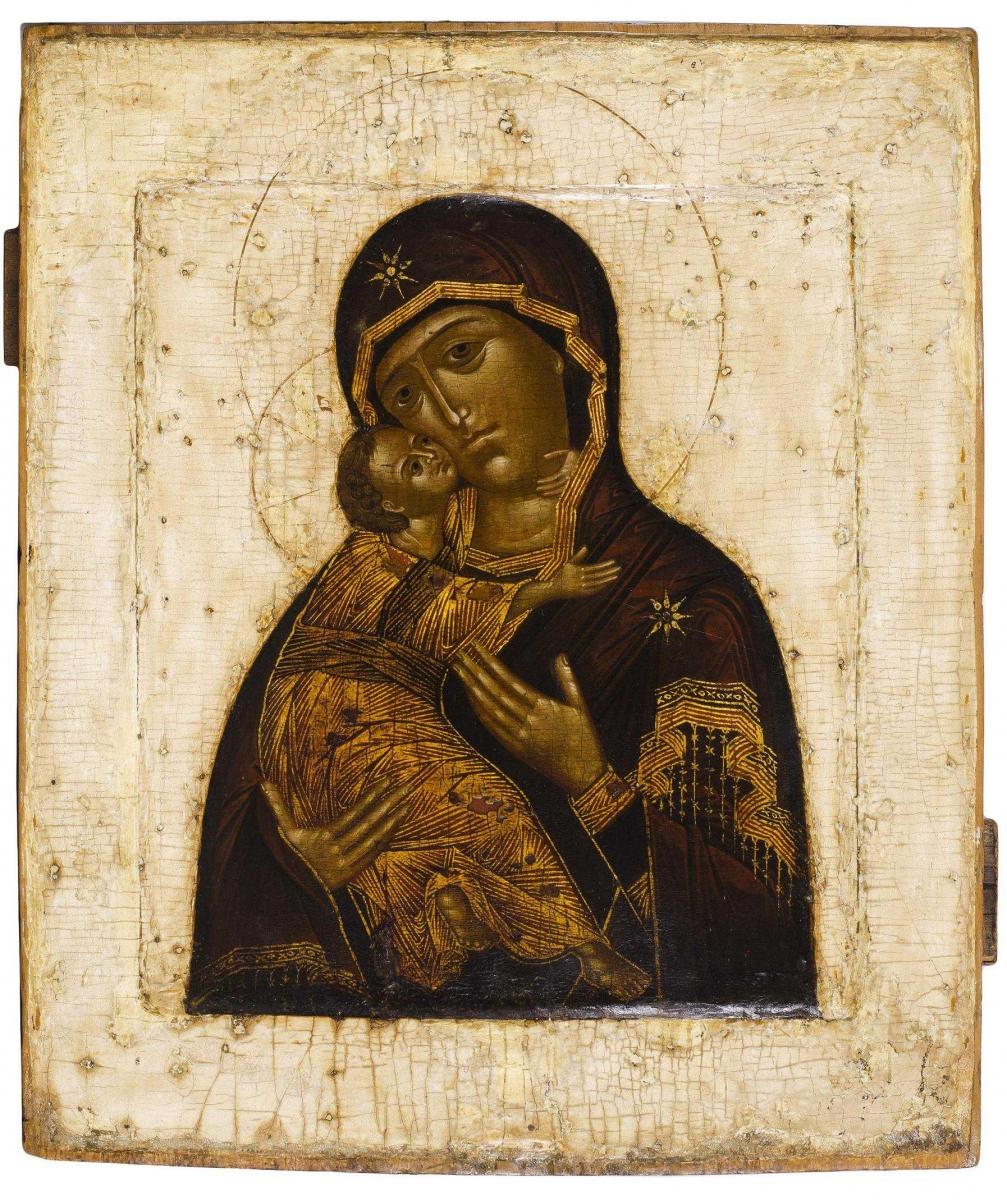 Икона Владимирской Божией Матери. Размеры: 31х27 см. Новодел.