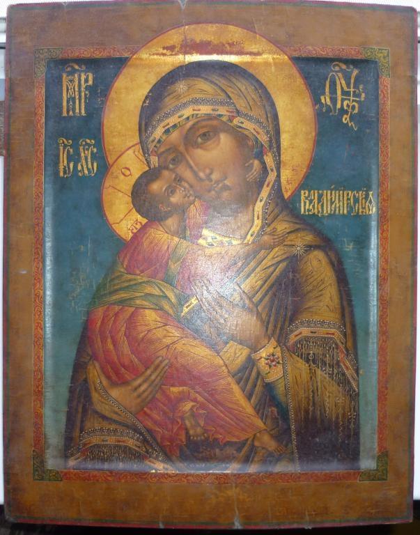 Икона Владимирской Божией Матери. Размеры: 42х34 см. Новодел.